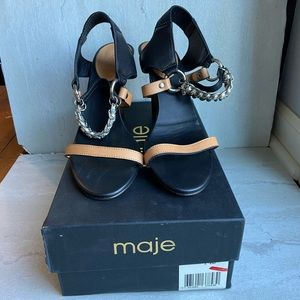 Maje Birdy chain leather Strappy heeled sandals 40